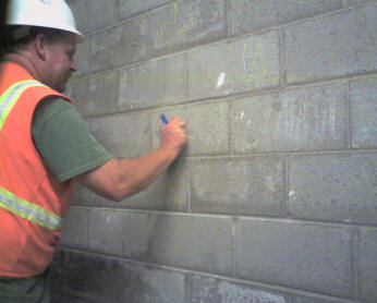 Locating grout core in a blockwall before scan
